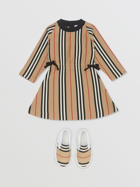 Long-sleeve Icon Stripe Cotton Dress in Archive Beige