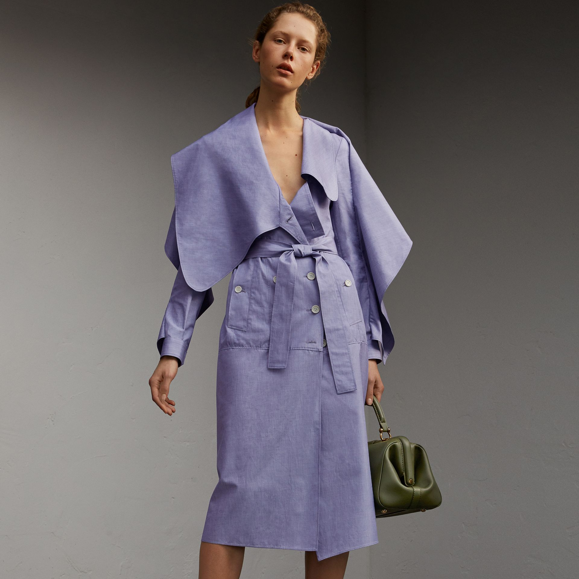 Cotton Chambray Sculptural Wrap Dress - Women | Burberry - gallery image 1