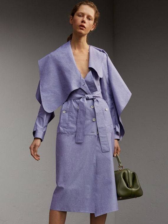 Cotton Chambray Sculptural Wrap Dress - Women | Burberry Hong Kong