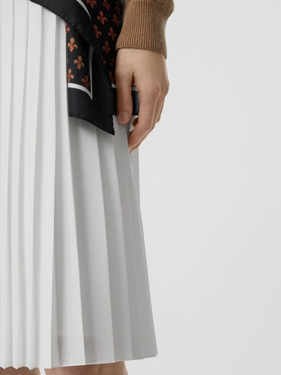 Silk-lined Pleated Skirt in Optic White - Women | Burberry Australia - cell image 1