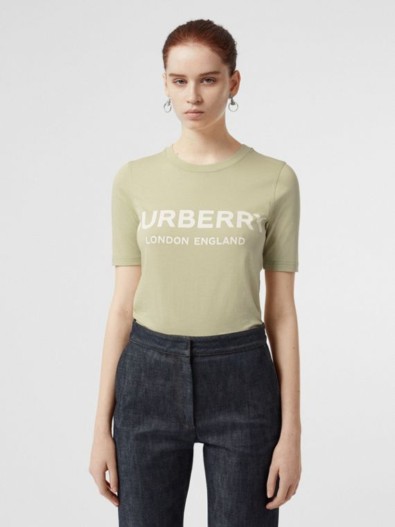 Logo Print Cotton T-shirt in Pale Apple Green