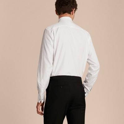 White modern fit double cuff pleat bib cotton dress shirt gallery