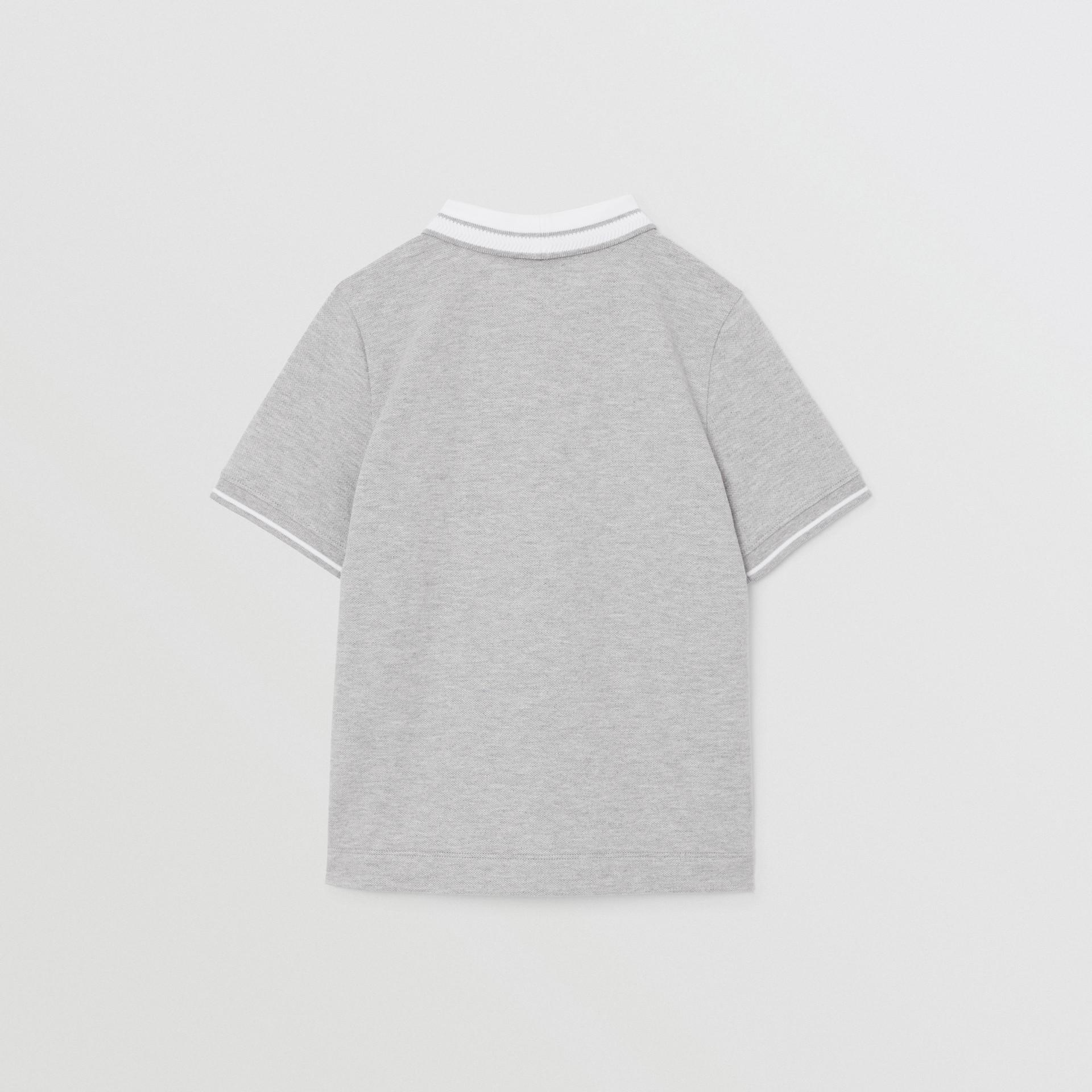 Location Print Cotton Piqué Polo Shirt in Grey Melange | Burberry Hong Kong S.A.R - gallery image 3