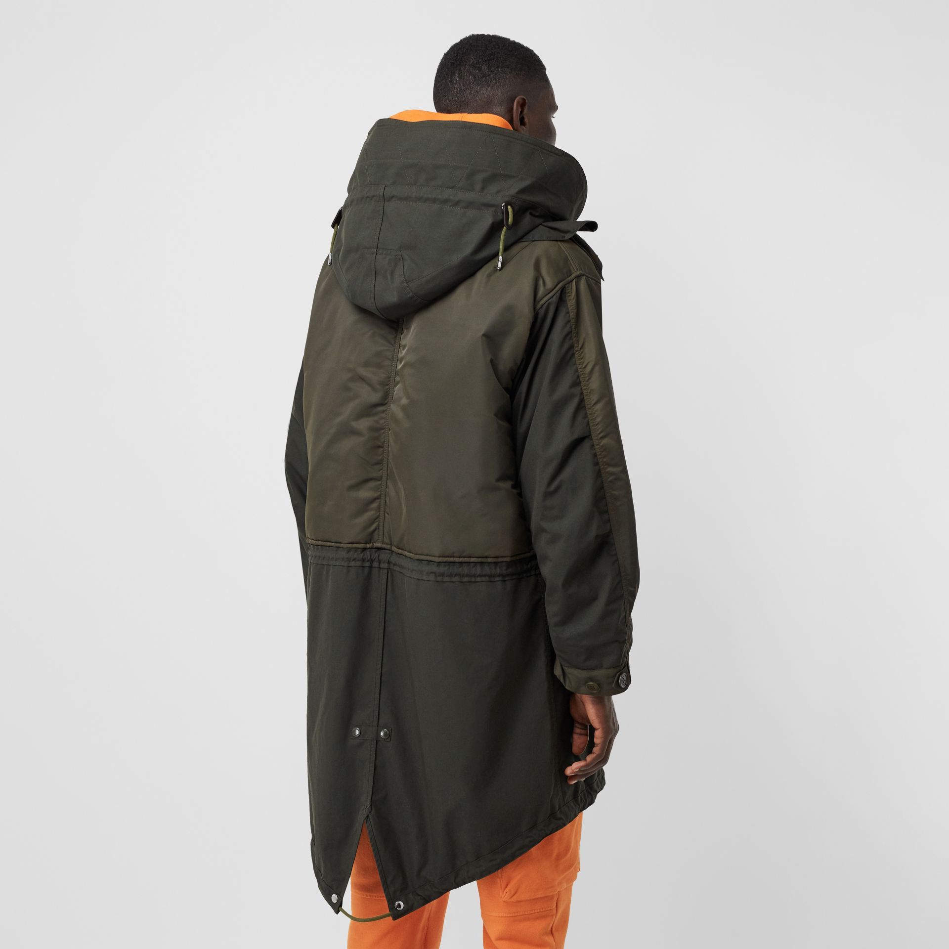 Nylon Hooded Parka with Detachable Warmer in Olive - Men | Burberry Singapore - gallery image 2