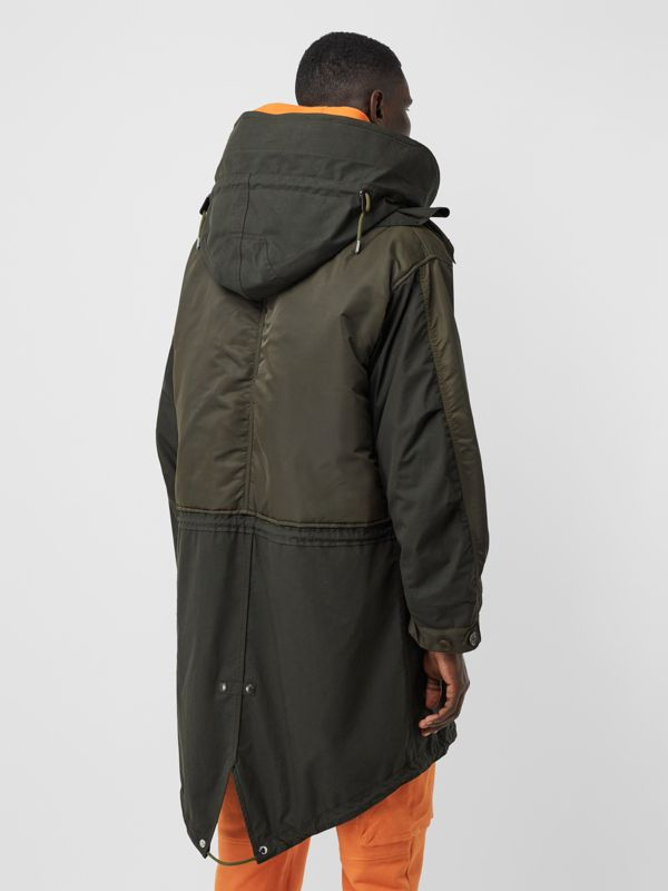 Nylon Hooded Parka with Detachable Warmer in Olive - Men | Burberry - cell image 2