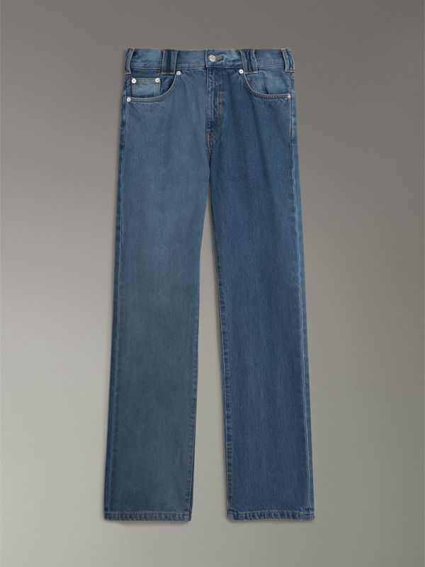 Straight Fit Two-tone Jeans in Indigo - Men | Burberry United Kingdom - cell image 3