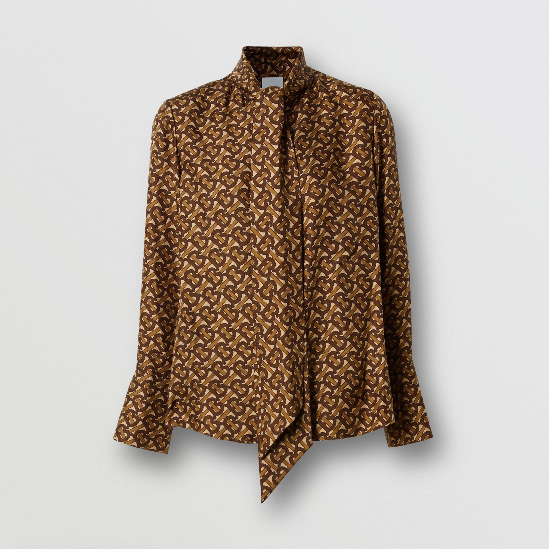 Monogram Print Silk Tie-neck Shirt in Bridle Brown - Women | Burberry - gallery image 3