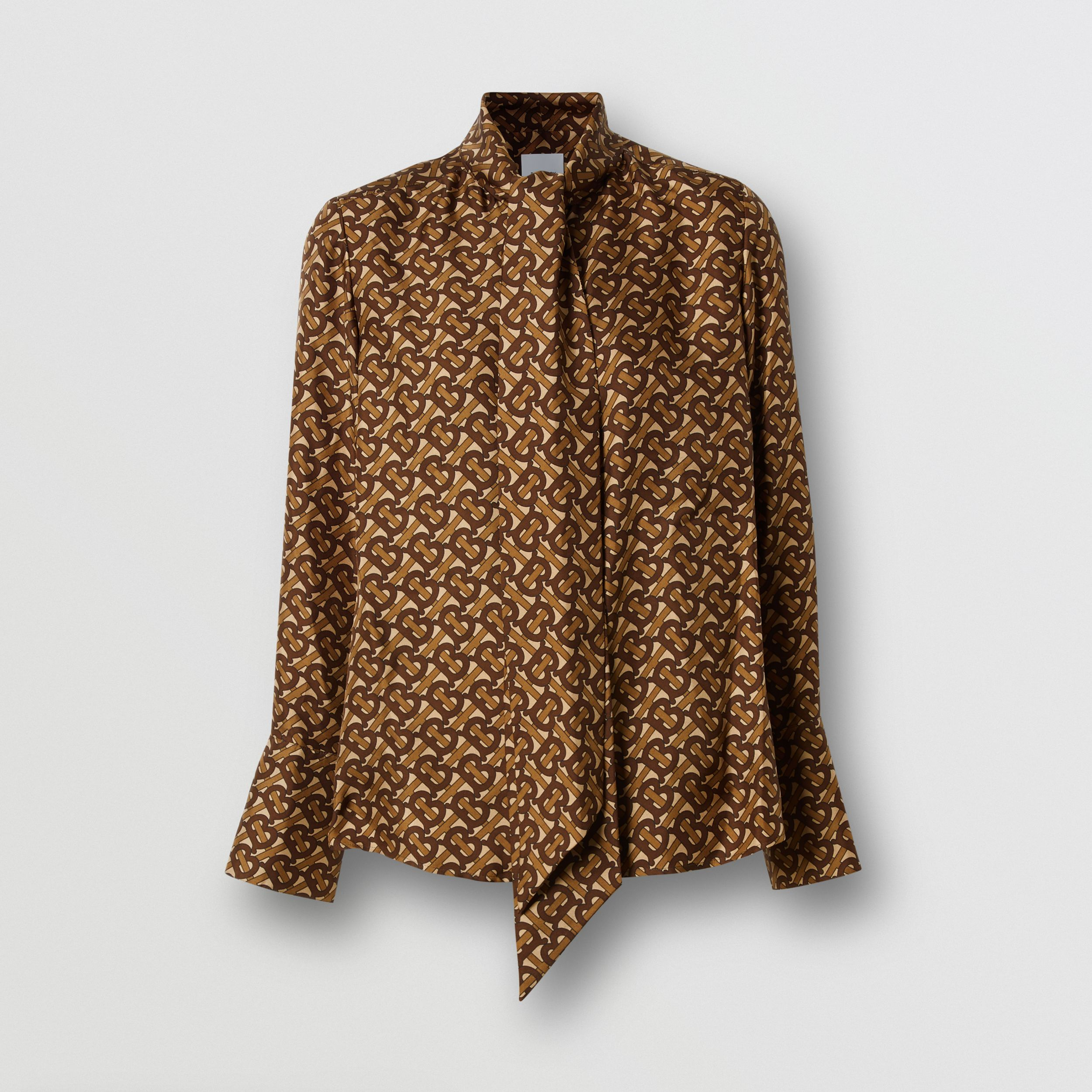 Monogram Print Silk Tie-neck Shirt in Bridle Brown - Women | Burberry - 4