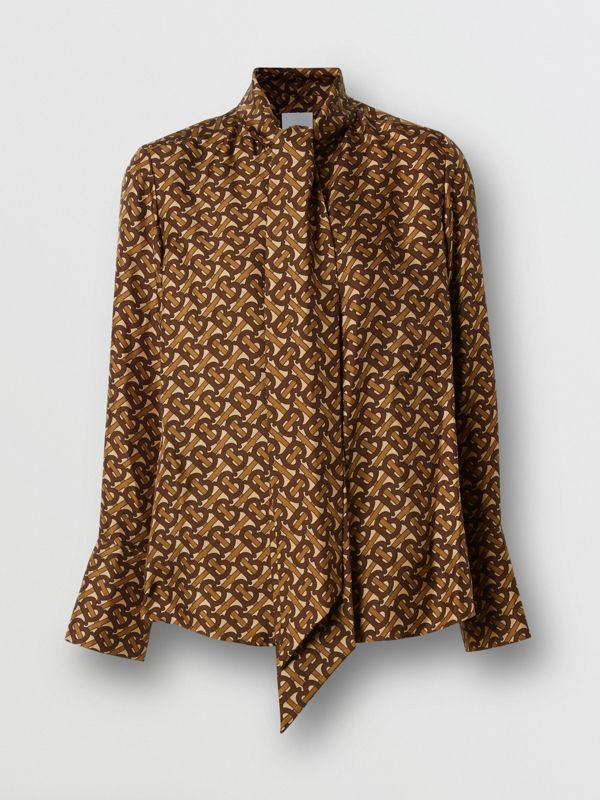 Monogram Print Silk Tie-neck Shirt in Bridle Brown - Women | Burberry - cell image 3