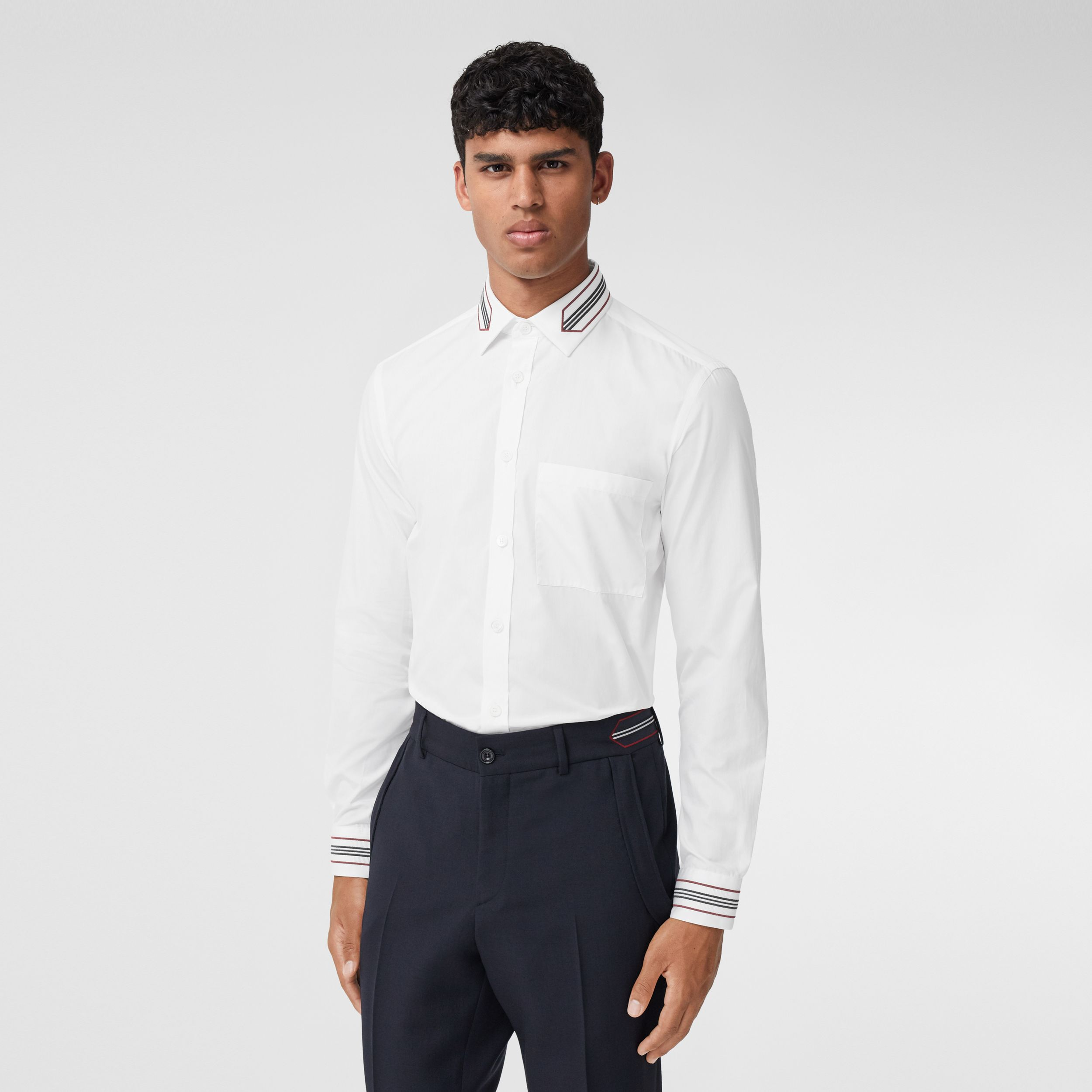 Slim Fit Icon Stripe Trim Cotton Poplin Shirt in Optic White - Men | Burberry Canada - 1