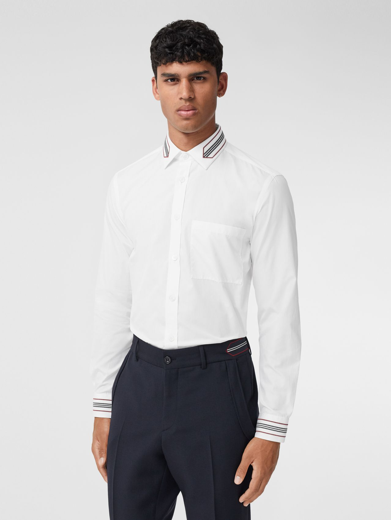 Slim Fit Icon Stripe Trim Cotton Poplin Shirt in Optic White
