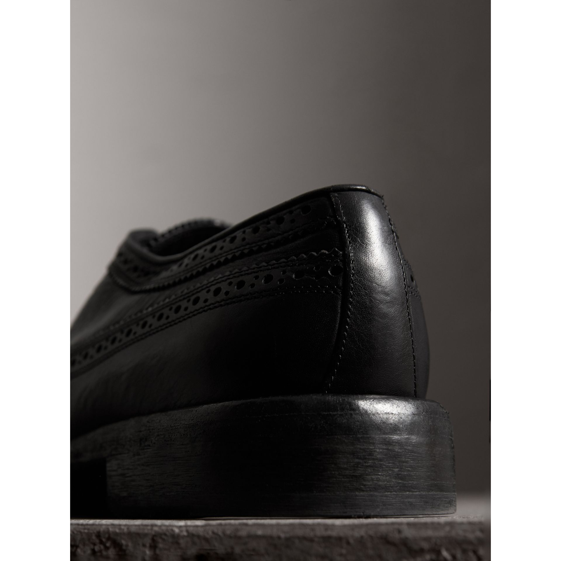 Grainy Leather Brogues with Bright Laces in Black - Men | Burberry - gallery image 3