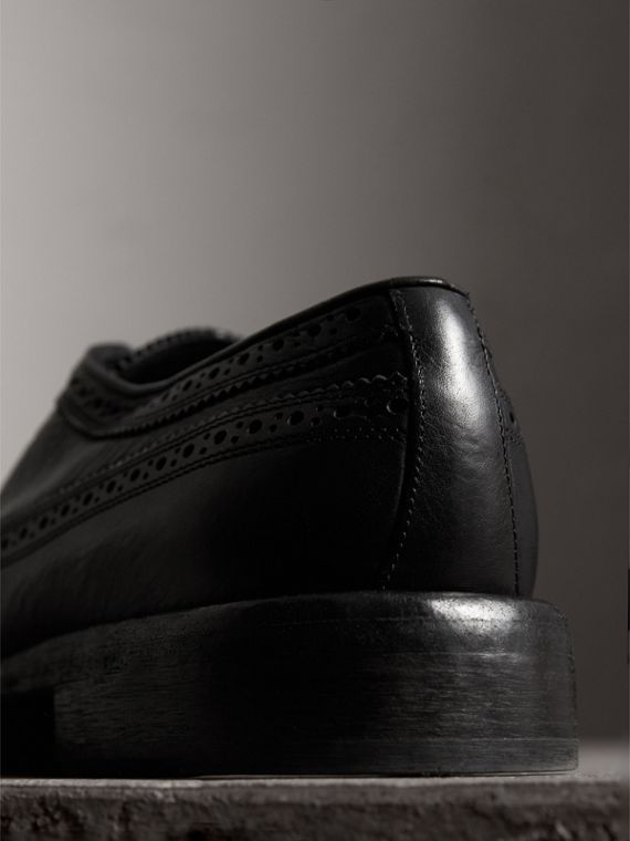 Grainy Leather Brogues with Bright Laces in Black - Men | Burberry - cell image 2