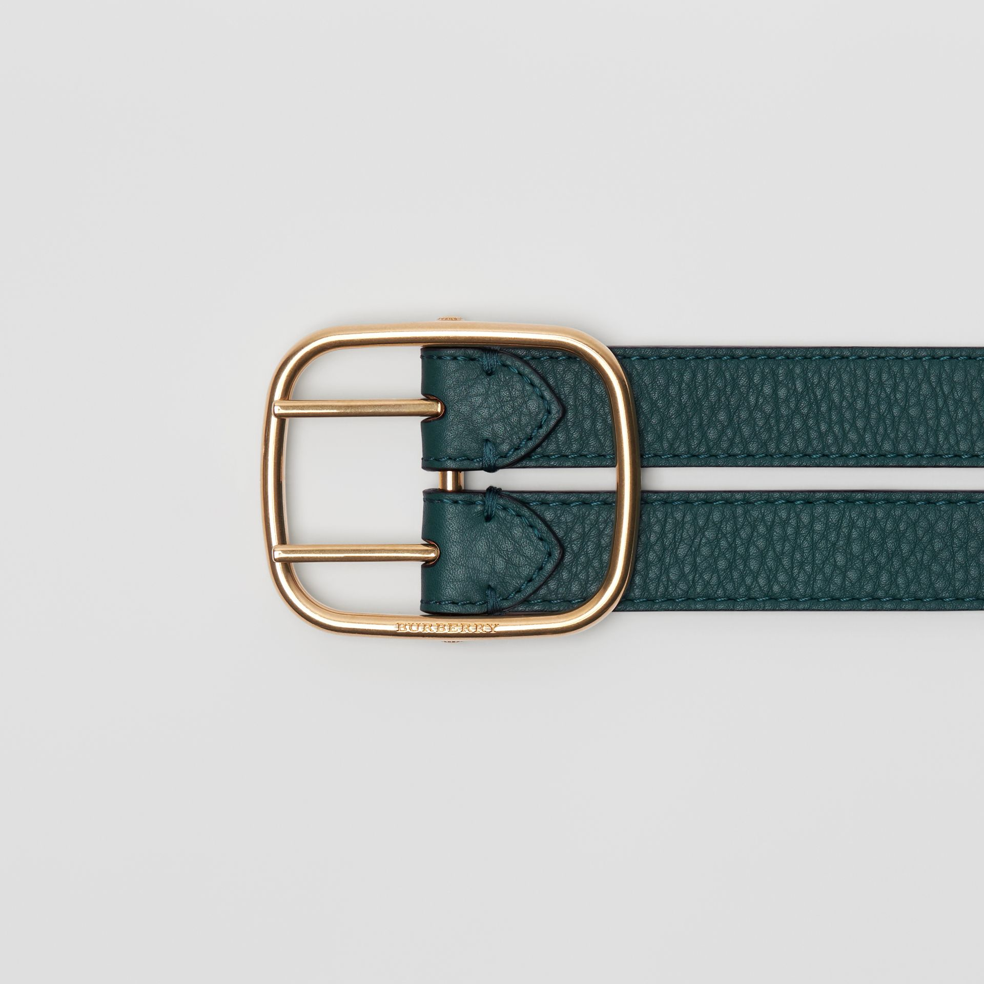 Double-strap Leather Belt in Dark Cyan/dusty Rose - Women | Burberry Australia - gallery image 1
