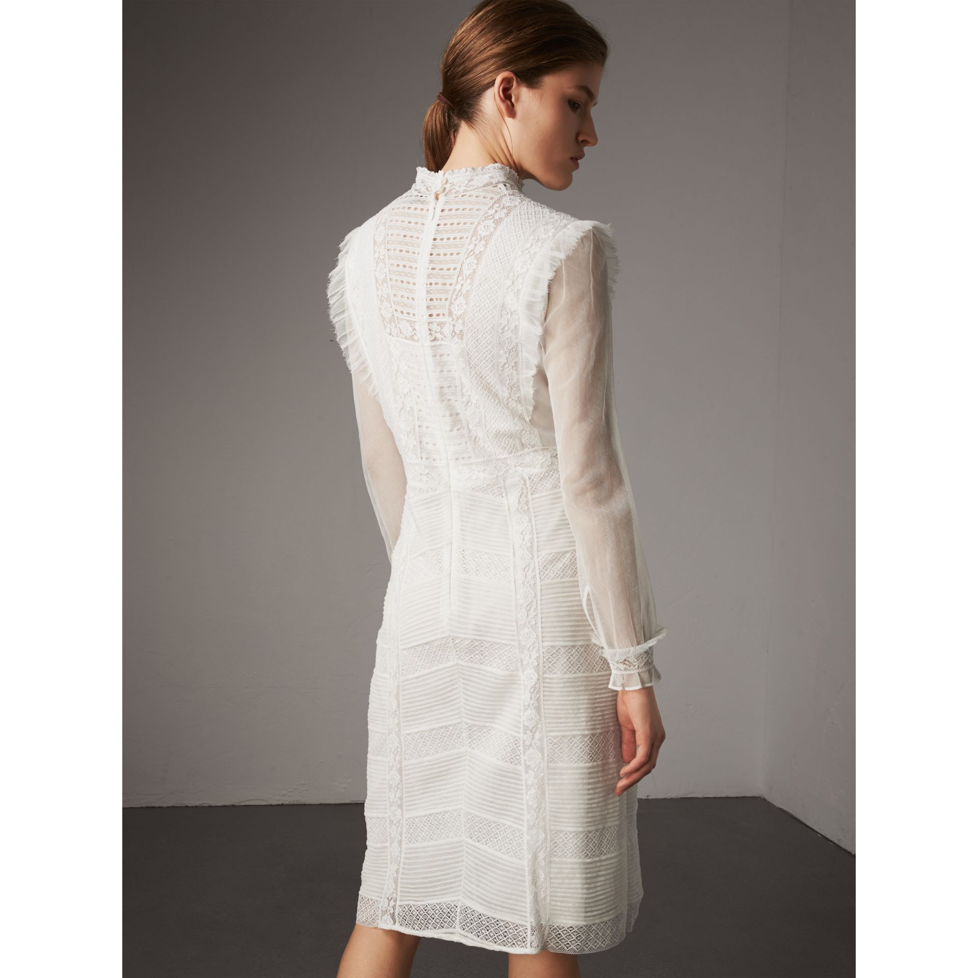 Ruffle Detail Lace Mesh Dress in White - Women | Burberry - gallery image 3