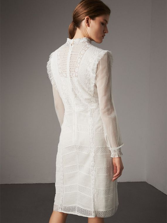 Ruffle Detail Lace Mesh Dress in White - Women | Burberry - cell image 2