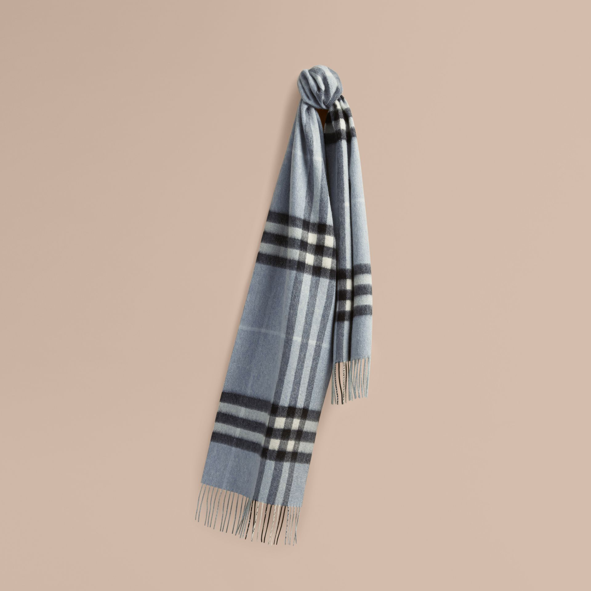 The Classic Cashmere Scarf in Check Dusty Blue - gallery image 6