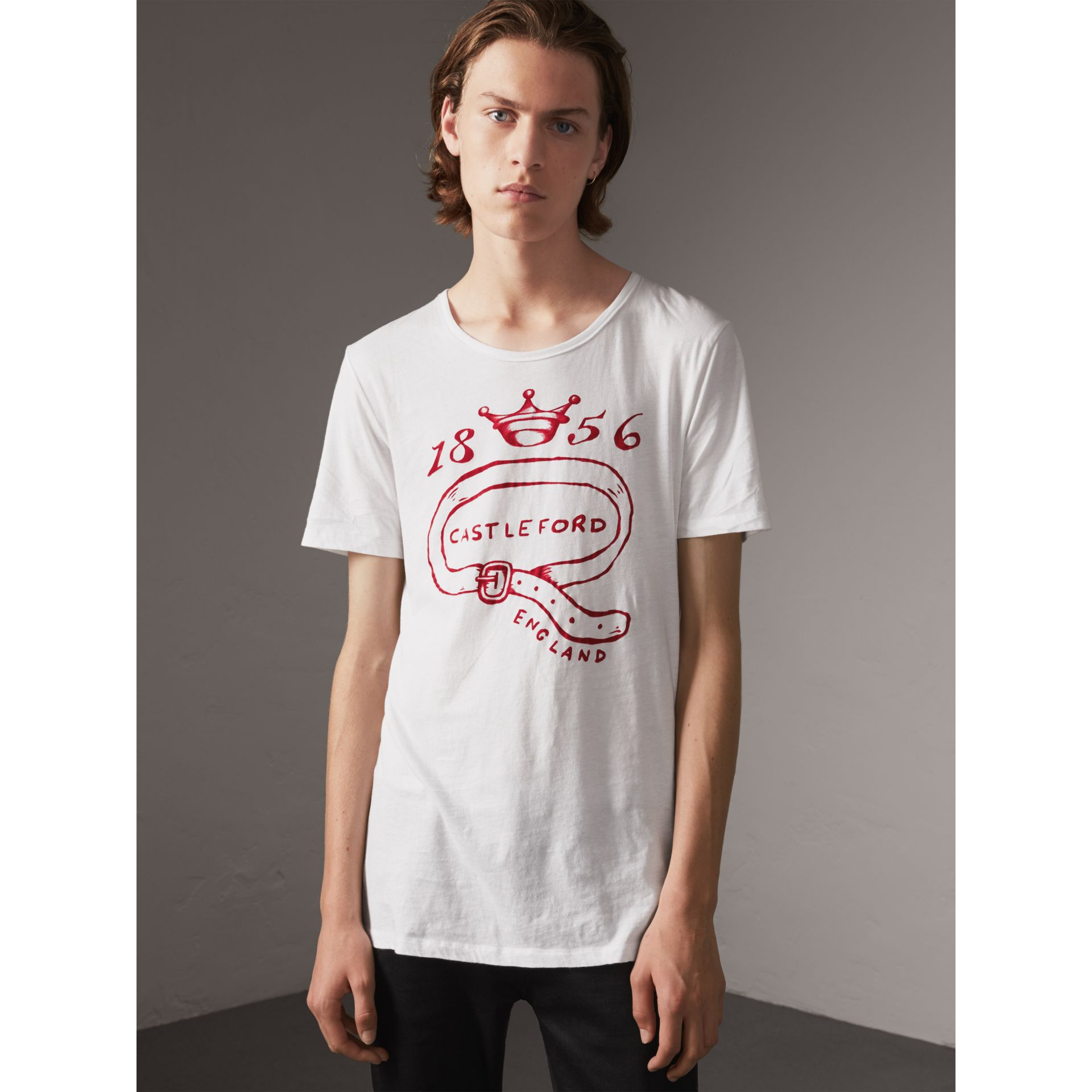 Castleford Print Cotton T-shirt in White - Men | Burberry United Kingdom - gallery image 4