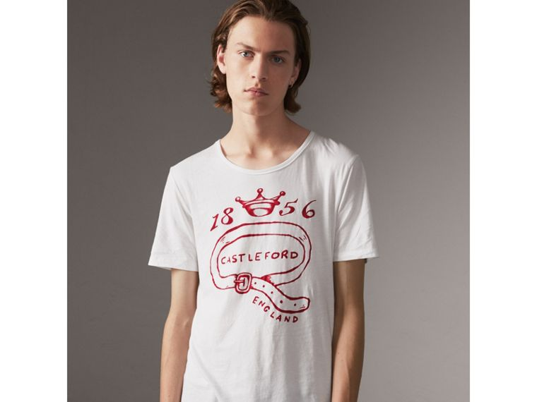Castleford Print Cotton T-shirt in White - Men | Burberry - cell image 4