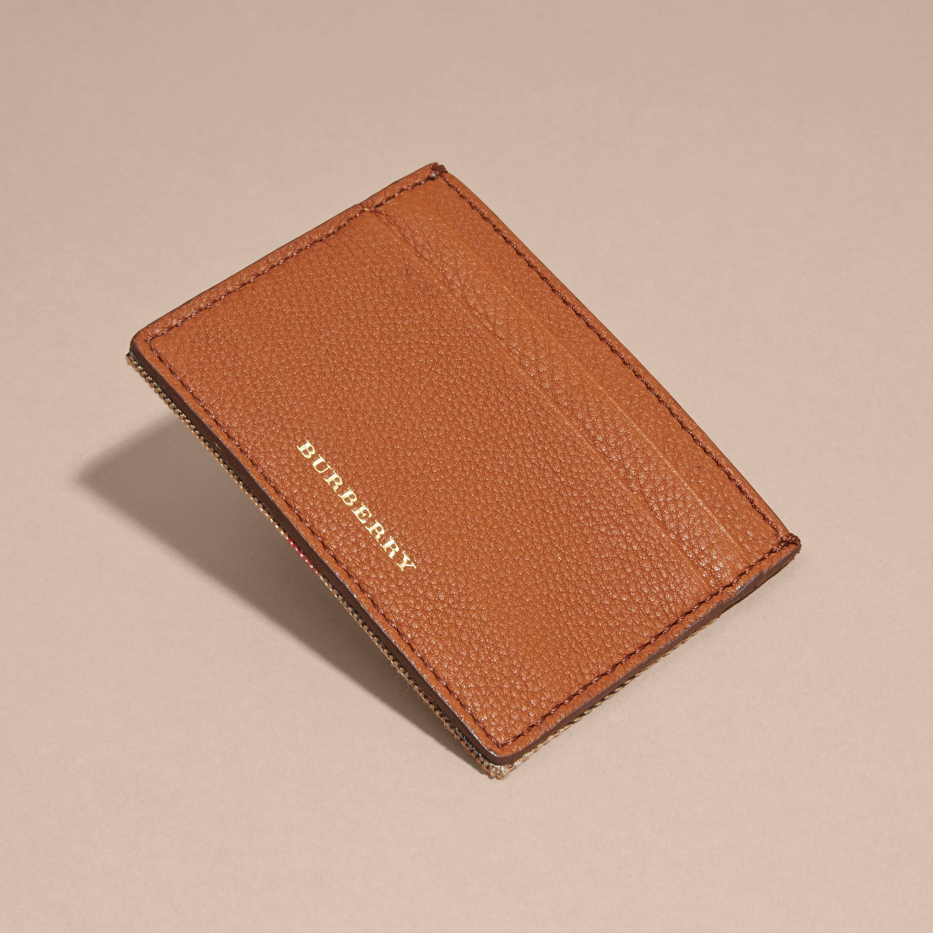 House Check and Grainy Leather Card Case Russet - gallery image 3