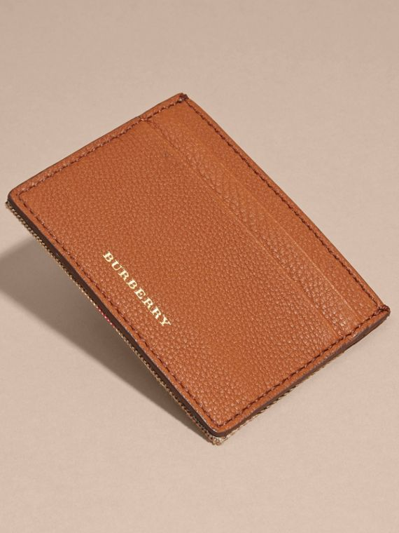 House Check and Grainy Leather Card Case Russet - cell image 2