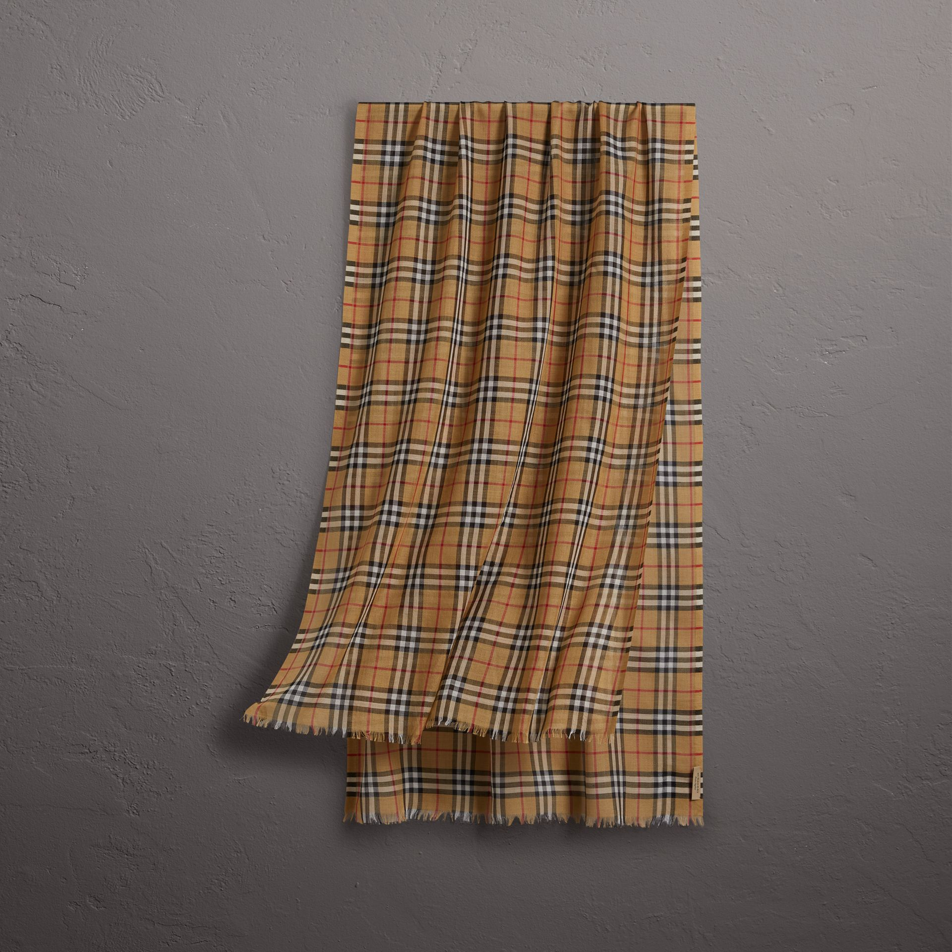 Vintage Check Lightweight Wool Silk Scarf in Antique Yellow | Burberry United States - gallery image 0