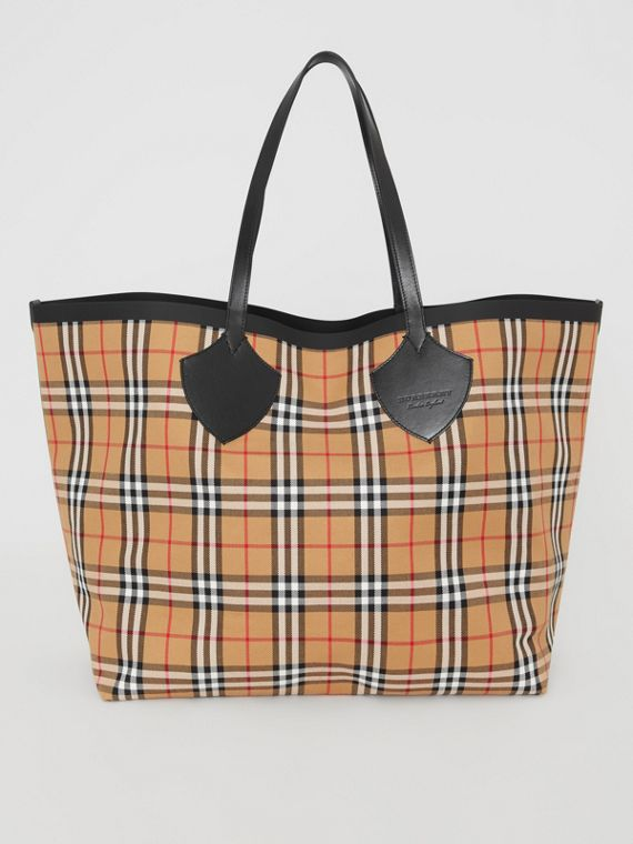 Borsa tote The Giant reversibile in cotone con motivo Vintage check (Giallo Antico)