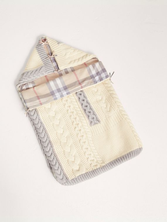 Cable Knit Wool Cashmere Baby Nest in Natural White