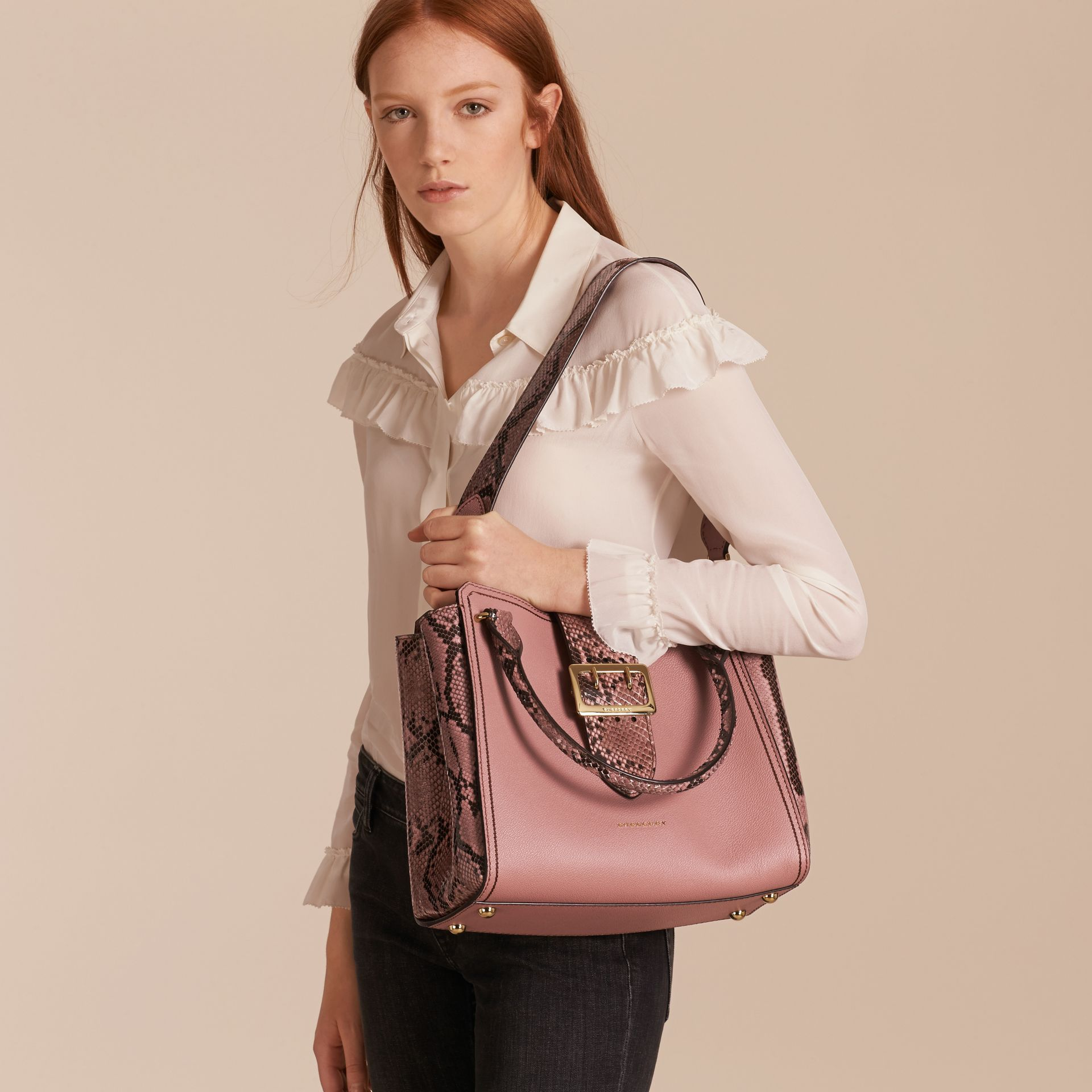 Dusty pink The Medium Buckle Tote in Grainy Leather and Python - gallery image 4
