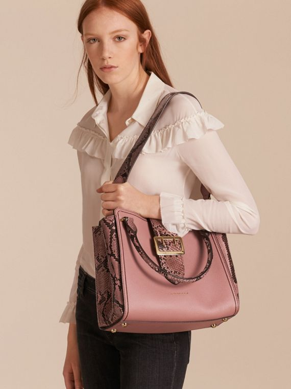 Dusty pink The Medium Buckle Tote in Grainy Leather and Python - cell image 3