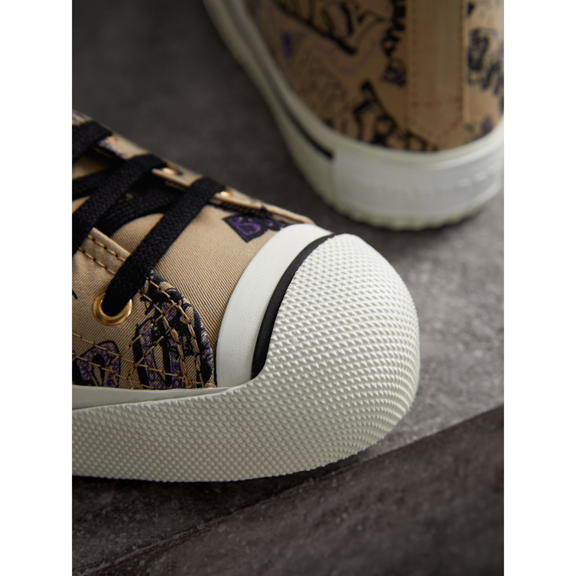 Doodle Print Cotton Gabardine High-top Trainers in Honey - Women | Burberry - gallery image 2
