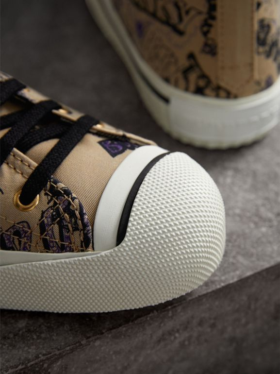 Doodle Print Cotton Gabardine High-top Sneakers in Honey - Women | Burberry - cell image 1