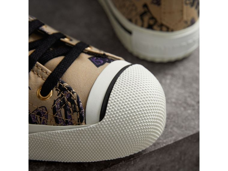 Doodle Print Cotton Gabardine High-top Trainers in Honey - Women | Burberry - cell image 1
