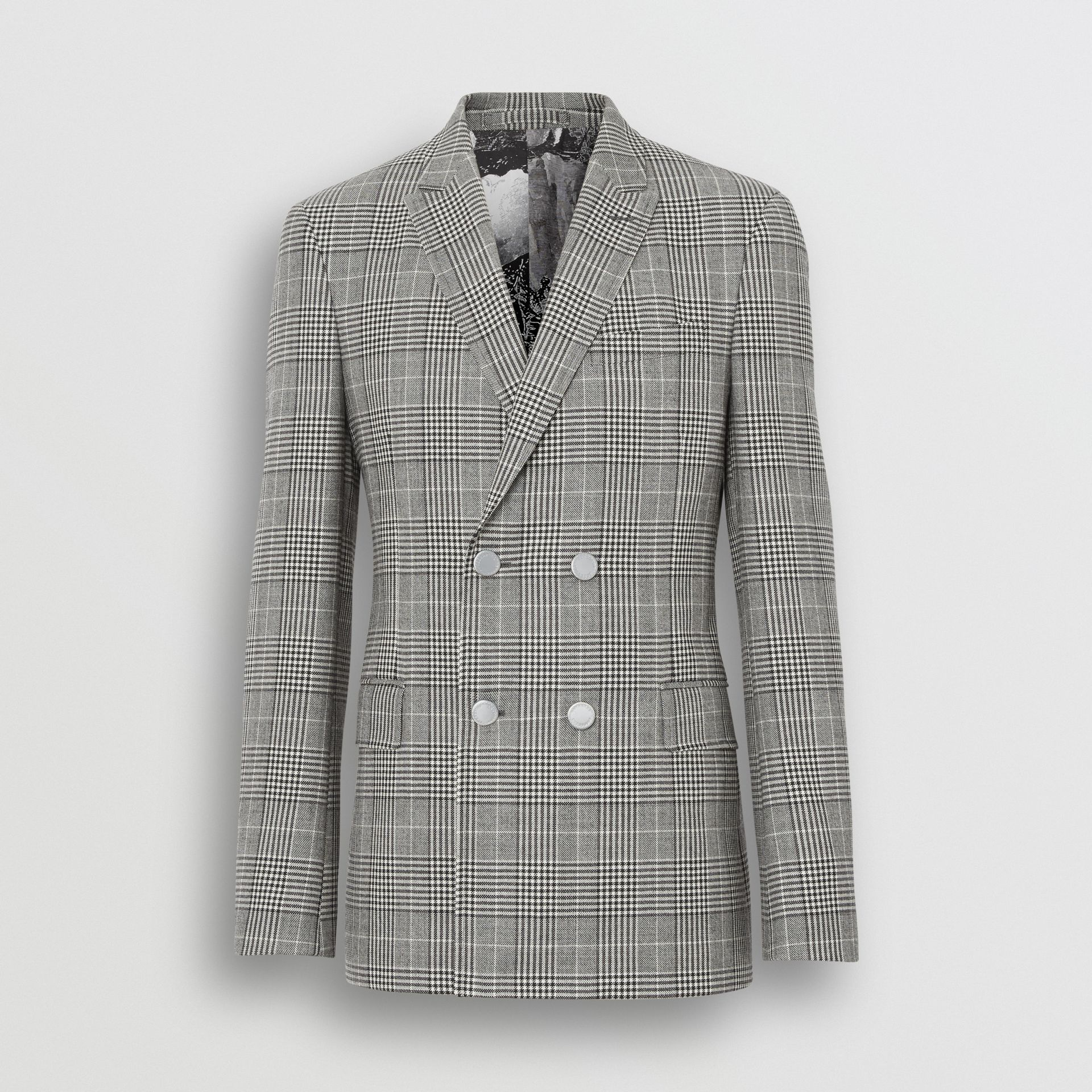 Slim Fit Check Wool Double-breasted Jacket in Black - Men | Burberry - gallery image 3
