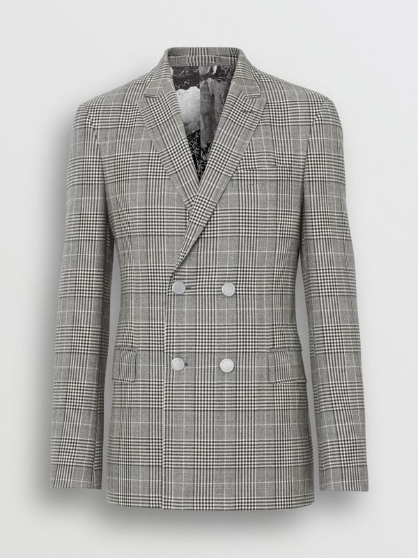 Slim Fit Check Wool Double-breasted Jacket in Black - Men | Burberry Singapore - cell image 3