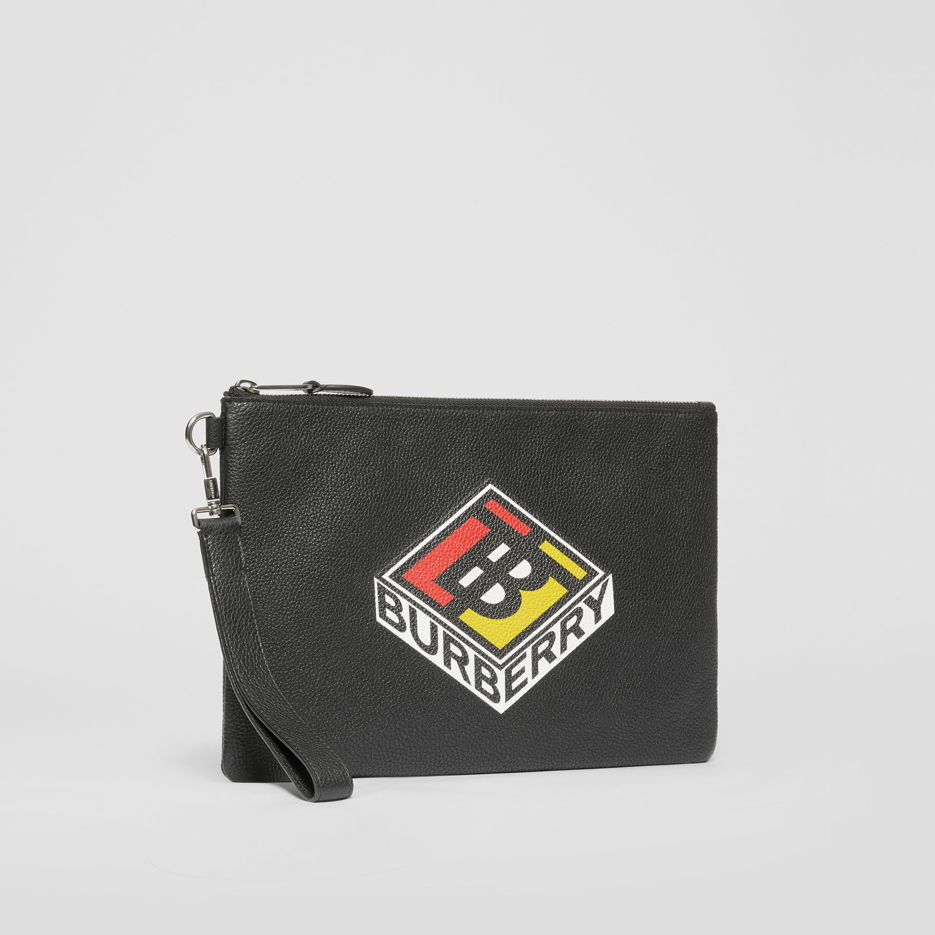 Logo Graphic Grainy Leather Zip Pouch in Black - Men   Burberry United Kingdom - gallery image 6