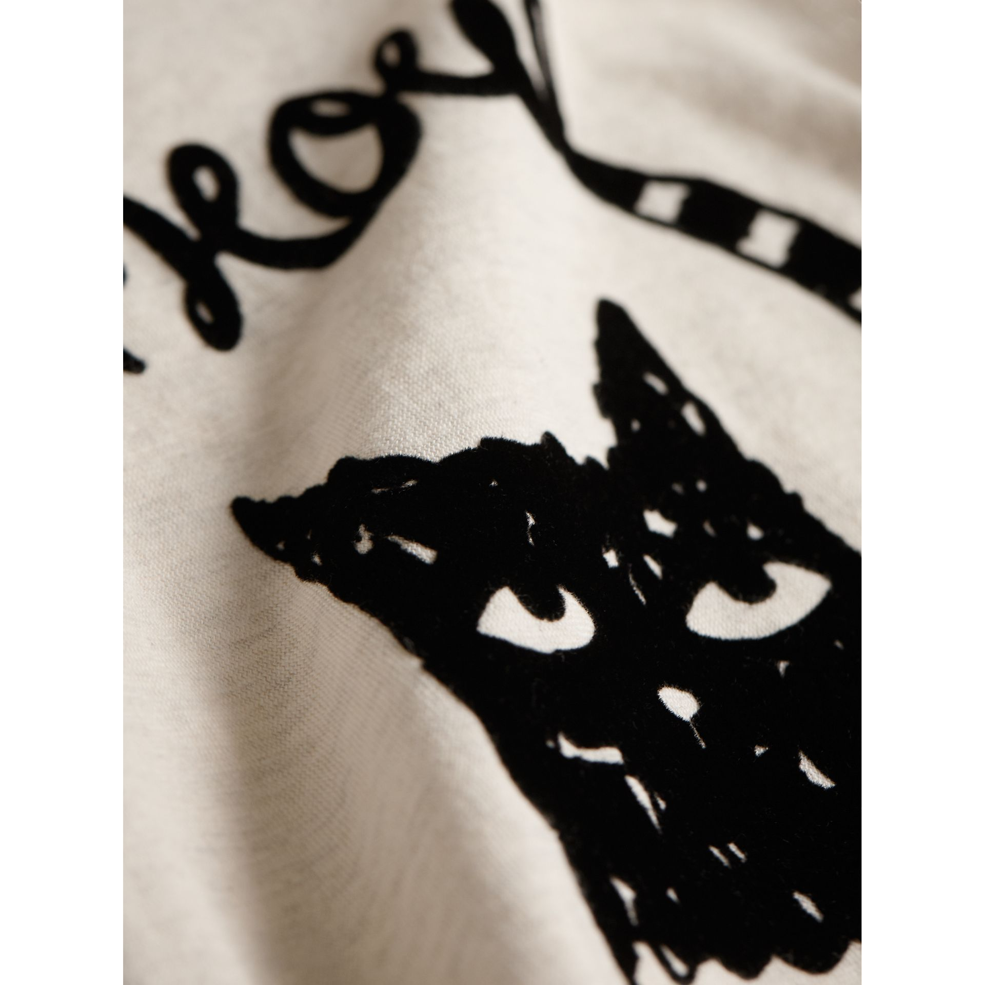 Flocked Cat Motif Cotton T-shirt in Natural Melange | Burberry - gallery image 1