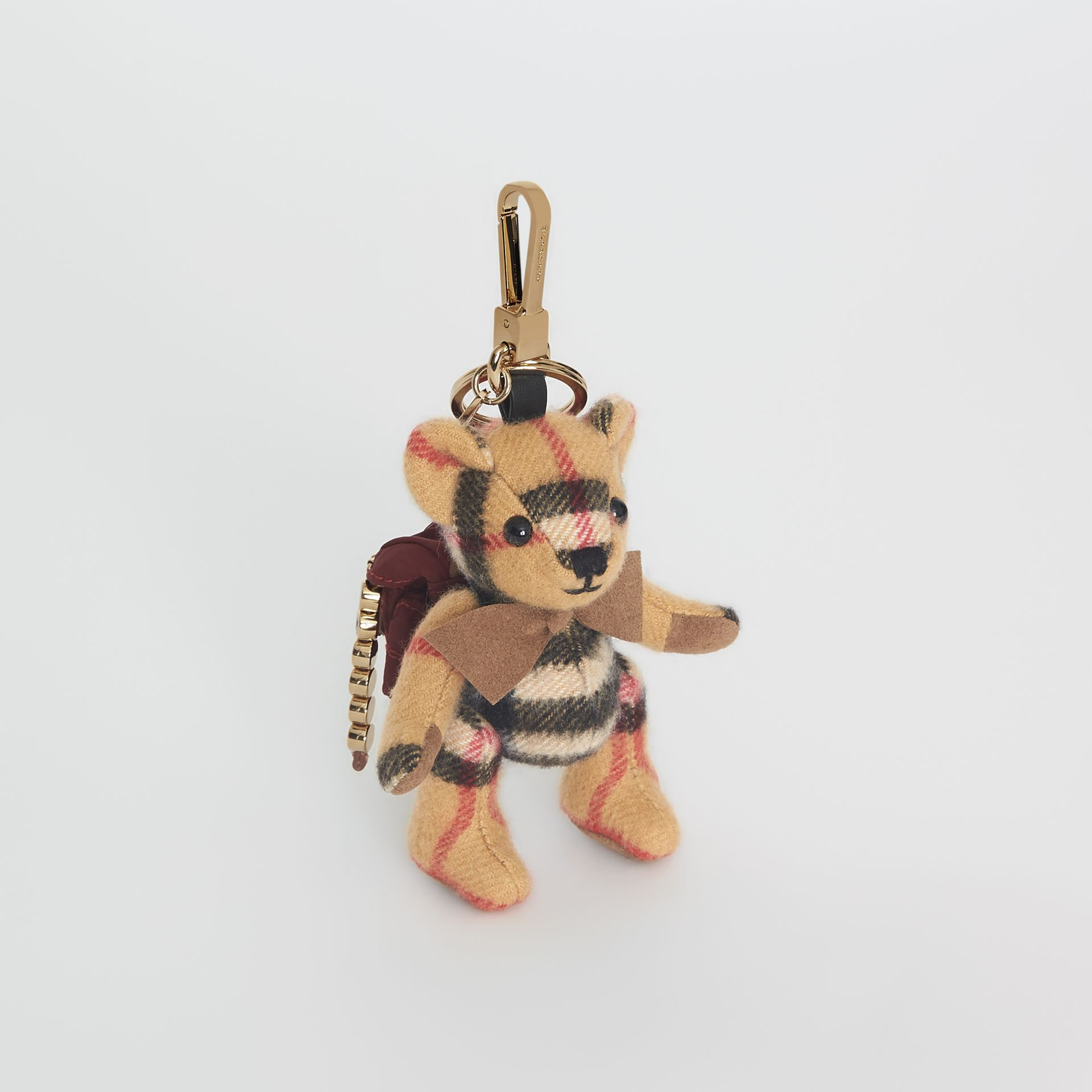 Bijou porte-clés Thomas Bear en cachemire à motif Vintage check (Jaune Antique) | Burberry - photo de la galerie 0