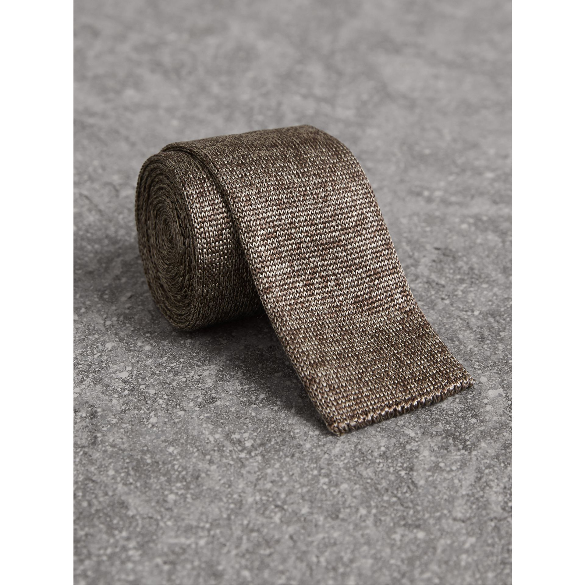 Slim Cut Knitted Silk Tie in Malt Brown - Men | Burberry - gallery image 1