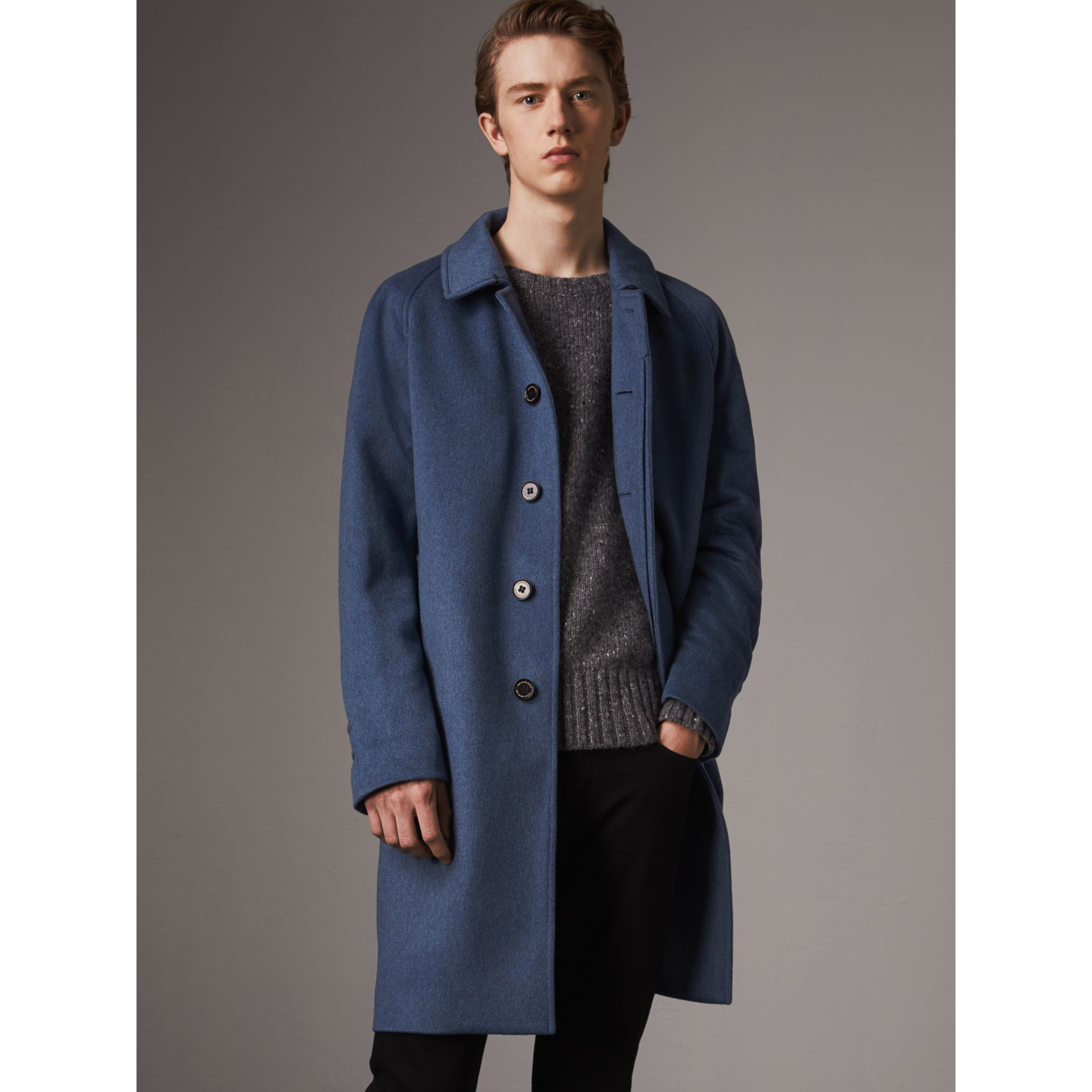 Cashmere Car Coat in Steel Blue Melange - Men | Burberry Canada - gallery image 5