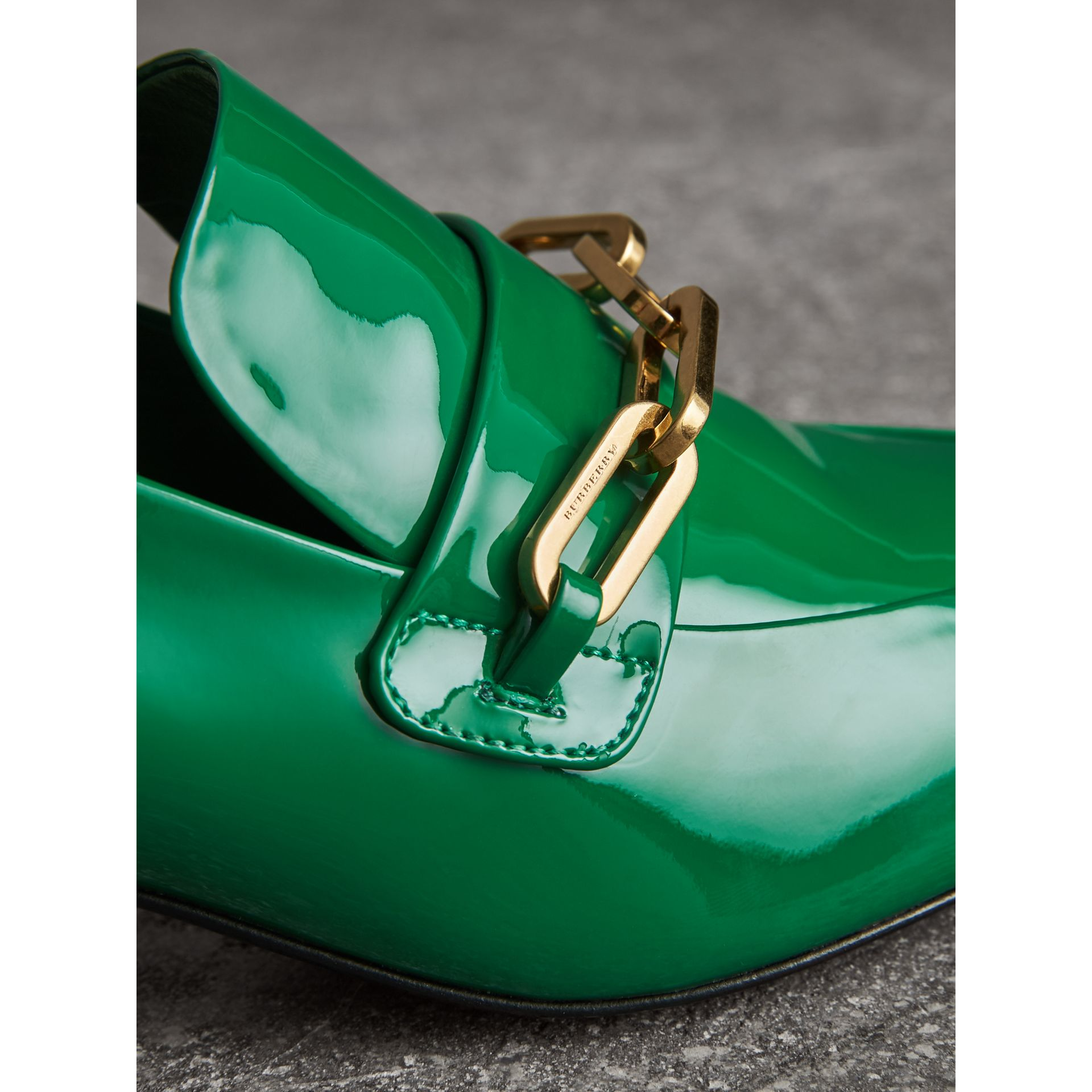 Link Detail Patent Leather Block-heel Loafers in Bright Pigment Green - Women | Burberry - gallery image 1