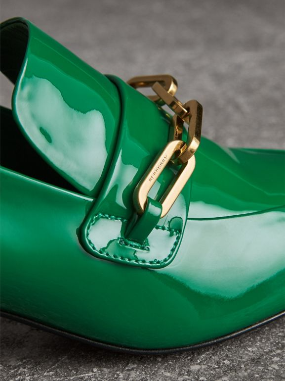 Link Detail Patent Leather Block-heel Loafers in Bright Pigment Green - Women | Burberry United Kingdom - cell image 1