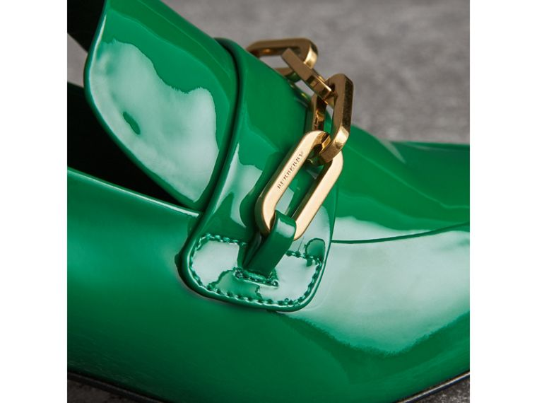 Link Detail Patent Leather Block-heel Loafers in Bright Pigment Green - Women | Burberry - cell image 1