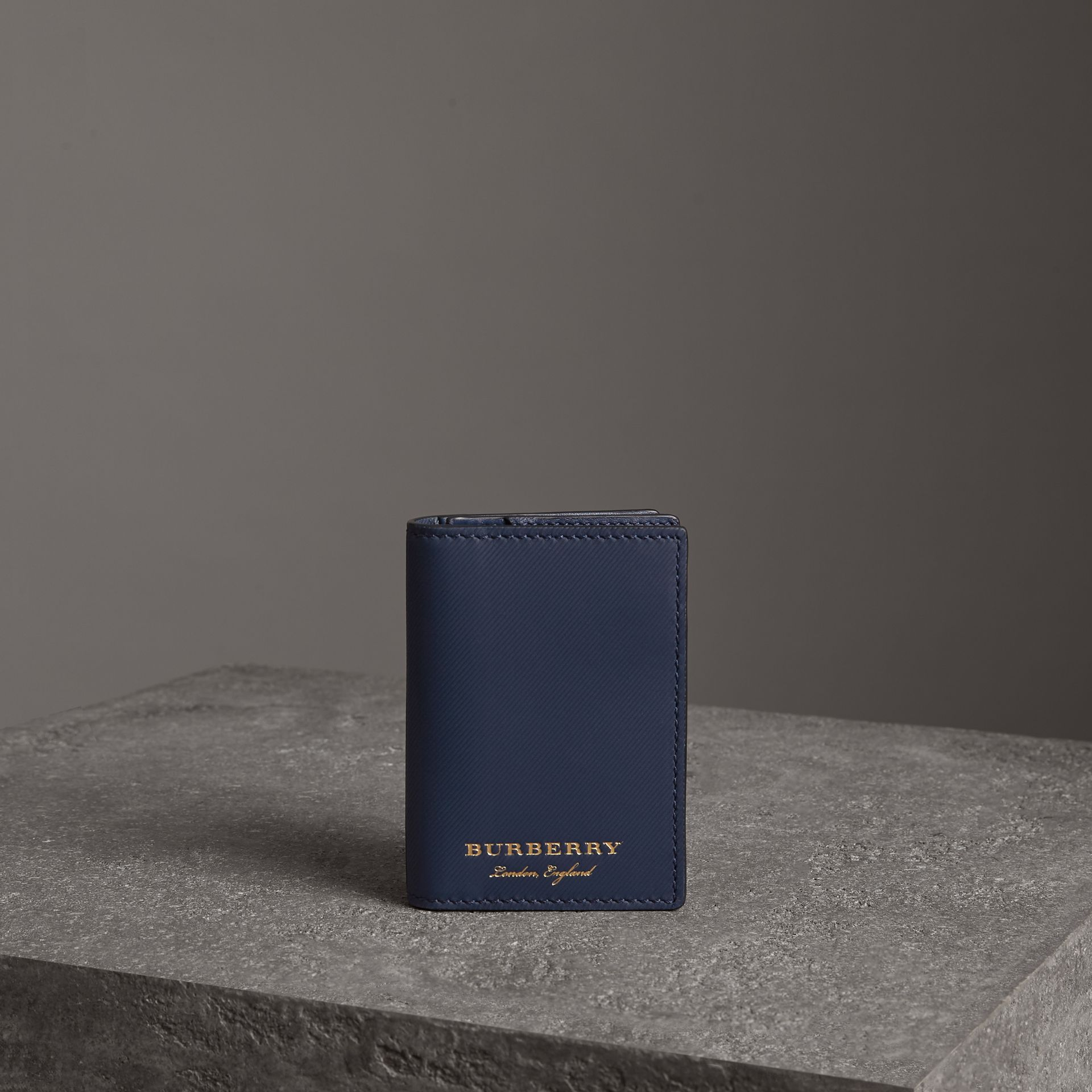Trench Leather Folding Card Case in Ink Blue - Men | Burberry - gallery image 0