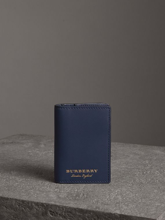 Trench Leather Folding Card Case in Ink Blue