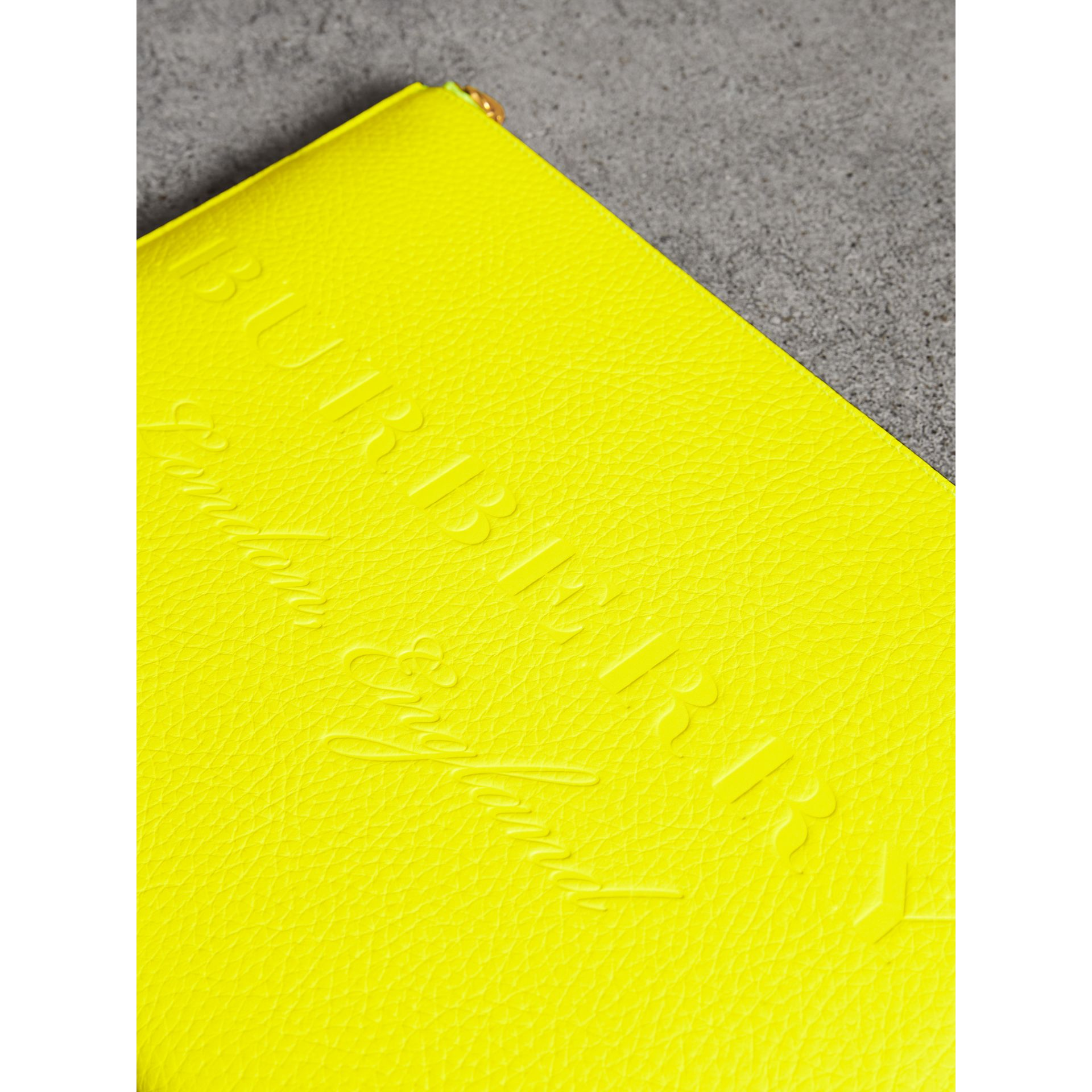 Embossed Leather Document Case in Neon Yellow - Men | Burberry Australia - gallery image 1