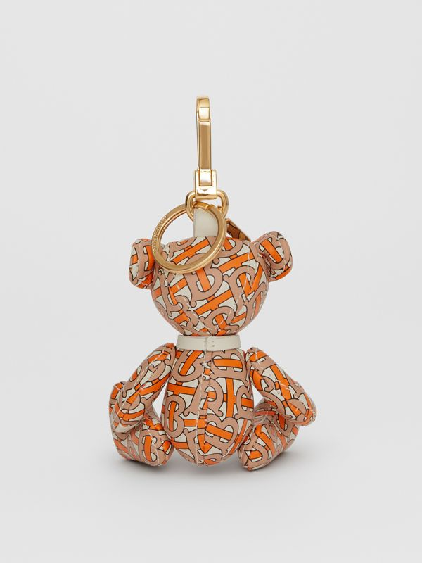 Thomas Bear Charm in Monogram Print Leather in Vermilion | Burberry - cell image 3