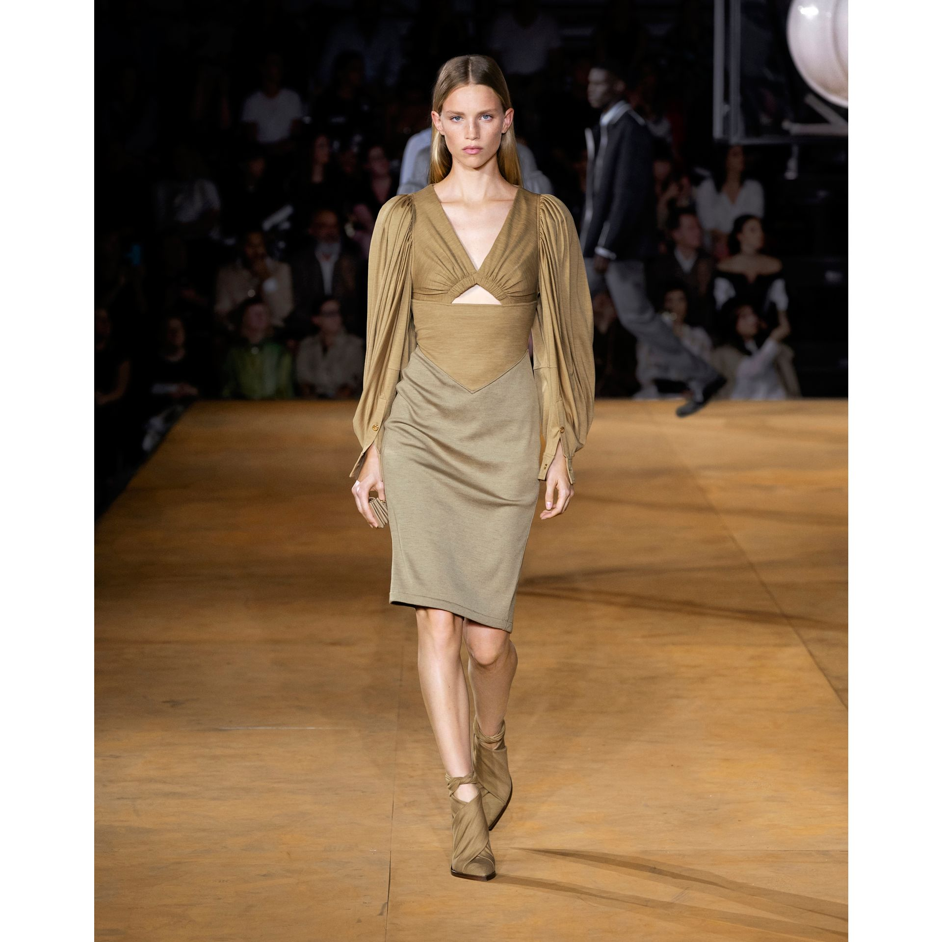 Panelled Wool Silk Jersey Dress in Pecan Melange - Women | Burberry - gallery image 5