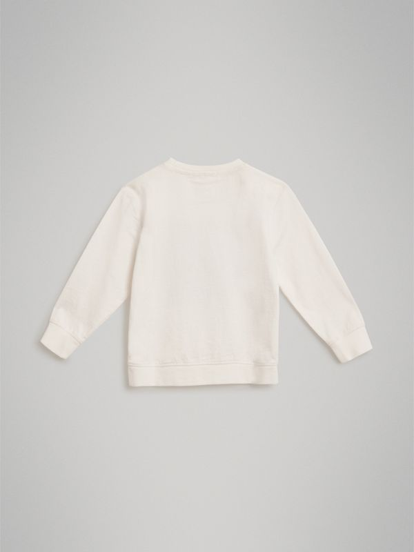 Archive Logo Print Cotton Sweatshirt in White | Burberry United States - cell image 3
