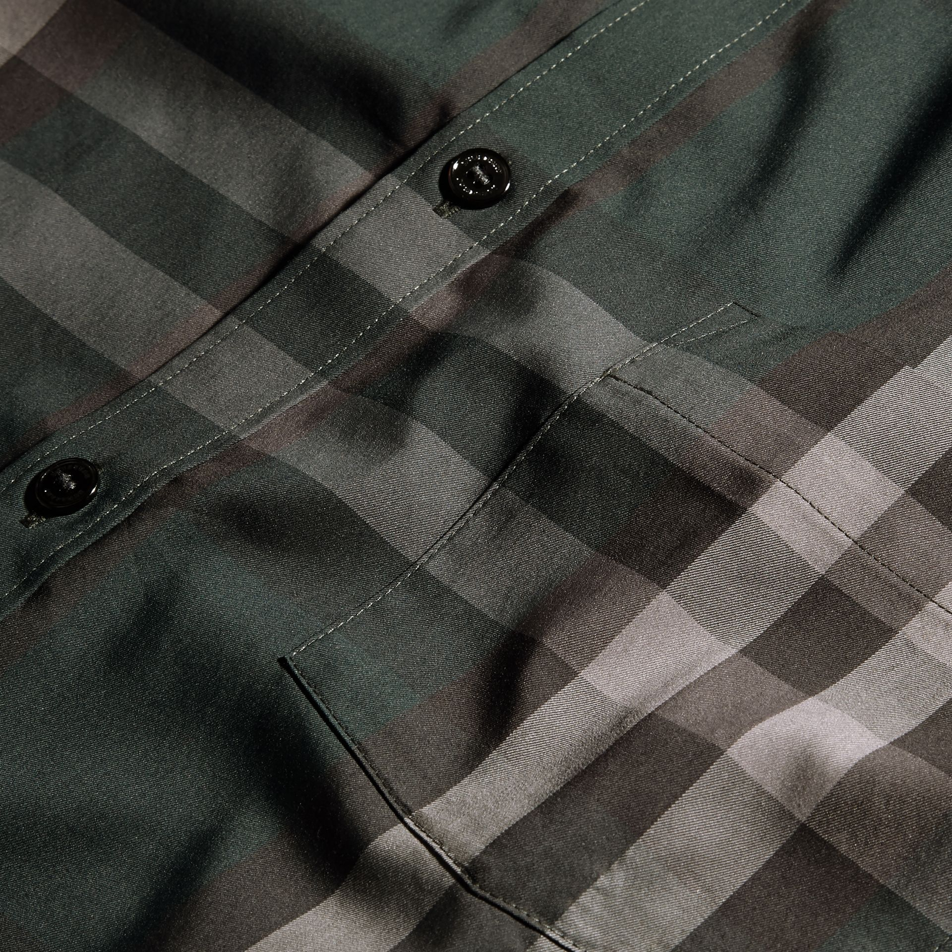 Racing green Check Stretch Cotton Shirt Racing Green - gallery image 2